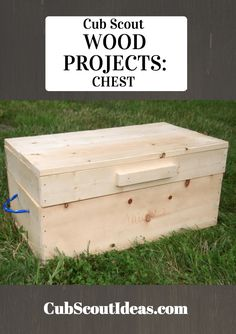 Looking for Cub Scout wood projects? Look no further than this cool chest that the boys can build to store their treasures! Looking for Cub Scout wood projects? Look no further than this cool chest that the boys can build to store their treasures! Kids Woodworking Projects, Wood Projects For Kids, Wood Projects For Beginners, Woodworking Crafts, Woodworking Plans, Woodworking Furniture, Woodworking Classes, Woodworking Techniques, Wood Furniture
