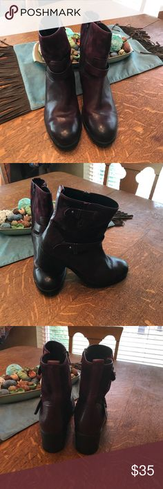 Clarks size 9.5 Boots Burgundy suede/leather short boot. 2 inch heel, like new condition. They are Clarks so you know they are comfortable!  Look super cute with skinny jeans! Clarks Shoes Ankle Boots & Booties