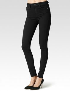 Made from our most luxuriously soft TRANSCEND fabric. Using the latest performance fiber technology, this denim features an innovative formula that combines chic with comfort and won't stretch out no matter what. It has true denim appeal and moves with you all day.  The Margot ultra skinny features an 11' high rise and is super stretchy to guarantee the skinniest fit down the leg. This style is our newest fit and features a sleek black wash ideal for day or night.