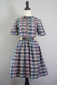 50s dress / 1950s dress xs / plaid dress / by VintConditionStyle