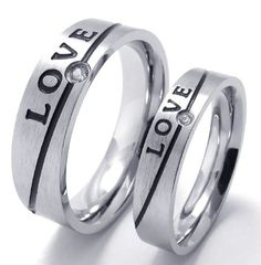 Aliexpress.com : Buy Stainless steel diamond silver lovers ring love letter design male women's titanium personalized fashion accessories from Reliable carve stone suppliers on Men's choice. $6.74
