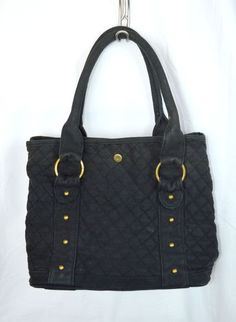 J Crew Black Quilted Cloth Tote Bag Purse Handbag Polka Dot Lining Cute Ebay