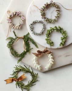 Mini wreaths from Martha Stewart Weddings Holiday Wreaths, Holiday Crafts, Holiday Fun, Christmas Decorations, Holiday Decor, Baby Wreaths, Paper Wreaths, Festive, Winter Wreaths