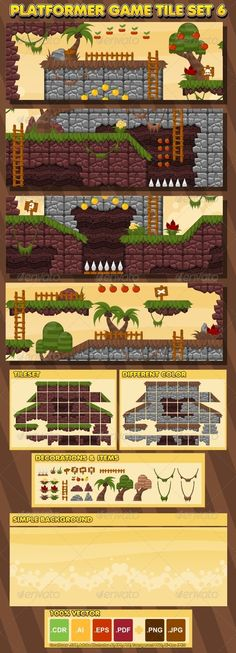 A set of vector game asset / graphic / sprite / art contains ground tiles and several items / objects / decorations, used for creating platformer games.  Suitable for platformer games with jungle, forest, treasure hunt, prehistoric, ethnic, and tribes theme.  #game #asset #platformer #spritesheet #sprite #tileset #tile #jungle #forest