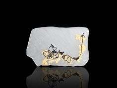 Michelle Pajak-Reynolds Drawing Collection: Morning Meditation #9 24k gold leaf, acrylic, nylon Photo: Adam Krauth #brooch #pin