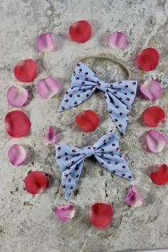 Blue|Floral Bow||Flowers||Sailor Bow||Hair Bow||Bow Clip||Baby Bow||Hair Clip||Girl Hair Bow||Bow Headband||Baby Headband||Bow||Summer Bow by EverlastingEsly on Etsy