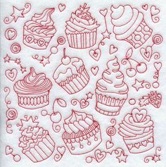 Cupcake Medley (Redwork)