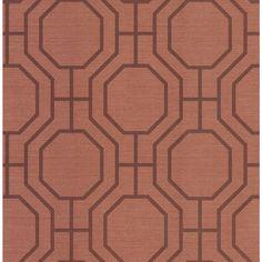 Madison Florals Terra Cotta (Red) Geometric Wallpaper Sample