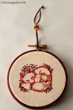 Mama & Baby Fox Embroidery Hoop by Lisa Leggett