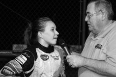 Molly Helmuth and Scott Ellsworth during an interview at Evergreen Speedway.