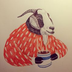 Goats love coffee! Illustration by sowiesowies.nl instagram.com/sowiesowies