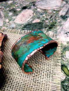 Copper Cuff, Copper Bracelet, Cuff Bracelets, How To Patina Copper, Patina Metal, Enamel Jewelry, Copper Jewelry, Turquoise Jewelry, Jewlery