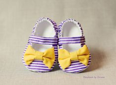 Fabric baby shoes baby girl shoes purple and by handmadebyzuzana