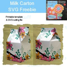 Guest favors.....Milk carton template. Make this gift box by printing out digital scrapbook papers from your computer. Stack them up in a pretty basket as favors for guests!
