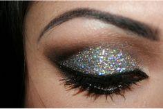 glittery glam eye makeup