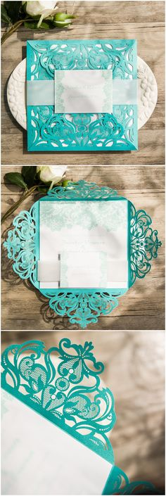 teal colored laser cut wedding invitations with free rsvp cards ewws112 @elegantwinvites