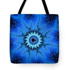 Tote bag: Blue abstract digital art based on a mandelbrot fractal, energetic and calming at the same time. The tote bag is machine washable, available in three different sizes, and includes a black strap for easy carrying on your shoulder. All totes are available for worldwide shipping and include a money-back guarantee. Matthias Hauser hauserfoto.com