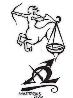 Sagittarius / Libra Merged Tattoo  my husband and daughter are libras and I am the sag
