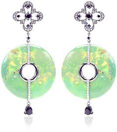 Bochic Green Green Turquoise and Diamond Earrings