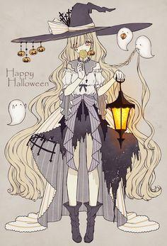 Anime, manga, and video game fan-art artworks from Pixiv (ピクシブ) — a Japanese online community for artists. pixiv - It's fun drawing! Anime Halloween, Halloween Tattoo, Happy Halloween, Halloween Art, Halloween Witches, Halloween 2019, Halloween Outfits, Anime Witch, Witch Manga