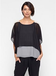 Color-Block Top with Overlay in Sheer Silk Georgette. Eileen Fisher