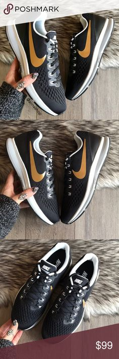 NWT Nike ID Pegasus 34 Black/Gold Custom Brand new no box, price is firm!!custom made!Featuring an updated outsole and upper design, the Nike®Zoom Pegasus 34 is crafted to keep you light on your feet and absorb impact with each and every step. Grooves cut into the stabilizing crash rail allow for natural range of motion,while the waffle pistons and radiused heel design promote balance. An updated Flymesh upper delivers lightweight ventilation and support so you stay quick on your feet. Nike…