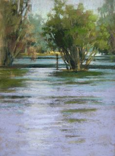 Pastel landscape painting of Lake Park in Fort Myers, Florida, by Jill Stefani Wagner