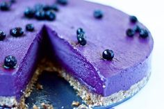 This blueberry cheesecake has the richness of a chocolate cake, but a delightfully fresh fruity flavor.