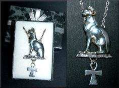 """Egyptian Seated Cat~  Mau ~ Bastet~ Ankh Cross ~ 16"""" Sterling Silver Necklace…"""