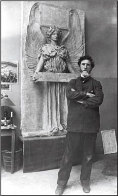 Photograph of Augustus Saint-Gaudens working in his Paris studio, c.1898. Saint-Gaudens was commissioned to do many sculptures in NYC during the Gilded Age. One example being the General Sherman Statue at the Grand Army Plaza in NYC. {cwl}
