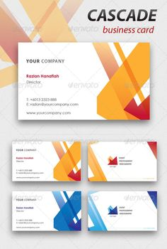 Cascade Business Card  #GraphicRiver         Hi guys. It's my first upload on Graphic River!  	 Cascade is a business card template that is very suitable to be used if your logo and identity has sharp angles and straight lines.  	 Offered in 2 color variations (red/orange & blue), Cascade is fully editable with all the layers properly named so copy & pasting of your details is so easy     High-res  AI & EPS format  Fully editable  Included bleed line and crop marks  2 color variations  Font…