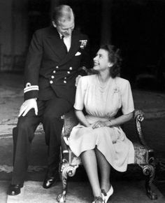 1947: Engagement of Lt Philip Mountbatten (1921-living2013) Greece & Princess Elizabeth II (Elizabeth Alexandra Mary) (1926-living2013) UK, 1947 by unknown artist.
