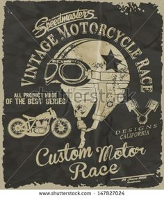 vintage race car and motorcycle for printing.vector old school race poster.retro race