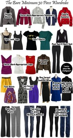 Minimal wardrobe - reducing everything. These are helpful hints. However, I would choose simpler/timeless pieces (no graphic t-shirts).