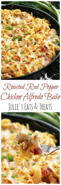 Red Pepper Chicken Alfredo Bake ~ Pasta Smothered in Light Roasted Red Pepper Sauce, Chicken & Cheese. Chicken Stuffed Peppers, Pepper Chicken, Roasted Red Pepper Sauce, Carpaccio, Chicken Alfredo, Pasta Alfredo, Pasta Bake, Peanut Butter Cups, One Pot Meals