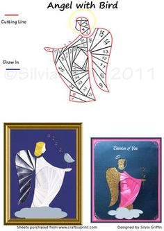 Angel with a Bird  on Craftsuprint designed by Silvia Griffin - A lovely easy to cut Angel - bringing what ever you need to the person who will receive the card. Birthday - Get Well- wishes and more.  - Now available for download!