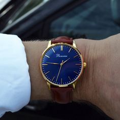 Classic Blue/G (40 mm) on the wrist. Free shipping worldwide - www.bonvier.com #bonvier #watches #orologi