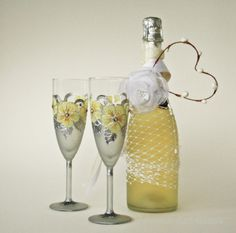 Champagne Flute Wedding Glasses Wedding Flute by NevenaArtGlass, $54.00 #wedding #bride_groom #wedding_glasses