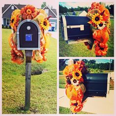 Fall Mailbox decoration- topper- Deco mesh and ribbon