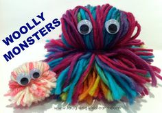 Laughing Kids Learn: DIY Woolly Monsters for Imaginative Play. Also great for developing fine motor skills through the making process.