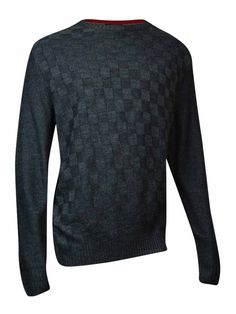 Geoffrey Beene Men's Solid Basketweave Sweater (Graphite Heather, XLT)