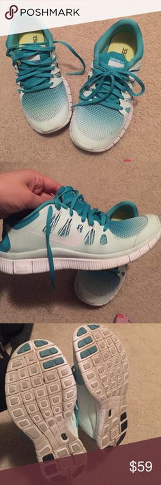 Nike free run 5.0 blue turquoise white size 7.5 Like new nike free run 5.0 in size 7.5 womens.  🙅🏻 PLEASE DO NOT ASK LOWEST PRICE 🙅🏻 ------------ Instead ---------------- ✅ USE OFFER BUTTON ✅ --------😐 no low balling please😐-------- 💁🏻 NO DRAMA HERE LETS BE NICE 🤗 🚫🚭 SMOKE FREE - PET FREE HOME 🚫🐾 Nike Shoes Sneakers