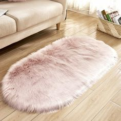 Wool Oval Living Room Carpet Floor Mat Bedside Mat Door Mat Pink