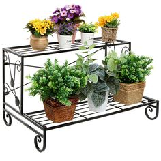 Decorative Scrollwork & Leaf Design 2 Tier Black Metal Storage Rack Shelf / Freestanding Display Stand