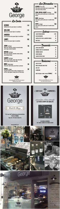 """Identité visuelle, création d'éléments graphiques pour le fish and chips """"Chez George"""" à Paris Fish And Chips, Corporate Design, Charts, Drink, Cards"""