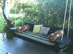 DIY porch swing- looks comfy.