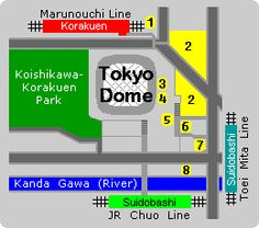 Map of Tokyo Dome and surrounding area