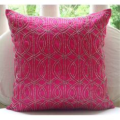 Handmade Pindler Pink Down Throw Pillow