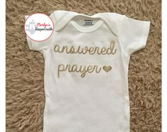Baby Shower Gifts Answered Prayer Baby Onesie - Christian Baby Onesie, Coming Home Outfit, Baby Sh. Baby Shower Gifts, Baby Gifts, Shower Outfits, Onesies, Baby Onesie, Coming Home Outfit, Rainbow Baby, Cute Baby Clothes, Cool Baby Stuff