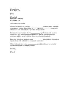 reference letter template coworker google search